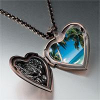 Necklace & Pendants - tropical beach scene photo heart locket pendant necklace Image.