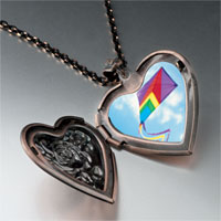 Necklace & Pendants - flying a purple kite photo heart locket pendant necklace Image.