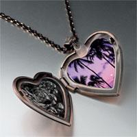 Necklace & Pendants - tropical sunset photo heart locket pendant necklace Image.