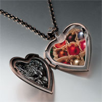 Necklace & Pendants - christmas ornament balls photo heart locket pendant necklace Image.