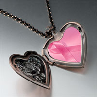 Necklace & Pendants - breast cancer awareness pink ribbon photo heart locket pendant necklace Image.