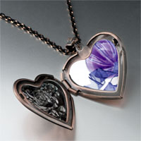 Necklace & Pendants - purple christmas ornament ribbon photo heart locket pendant necklace Image.
