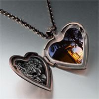 Necklace & Pendants - tropical beach lifeguard hut heart locket pendant necklace Image.