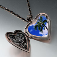 Necklace & Pendants - tropical beach palm tree heart locket pendant necklace Image.