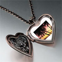 Necklace & Pendants - palms tropical sunset heart locket pendant necklace Image.
