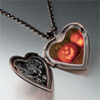 Necklace & Pendants - smiling jack o lanterns heart locket pendant necklace Image.
