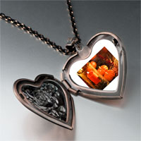 Necklace & Pendants - jack o lantern halloween pumpkin and candle thanksgiving decorationsheart and rose pendant Image.