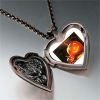 Necklace & Pendants - smiling jack o lantern halloween pumpkin face lanterns heart and rose pendant Image.