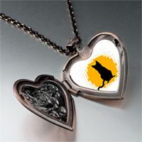 Necklace & Pendants - black cat silhouette heart locket pendant necklace Image.