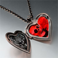 Necklace & Pendants - halloween death skeleton heart locket pendant necklace Image.