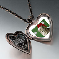 Necklace & Pendants - christmas cat looking good heart locket pendant necklace Image.