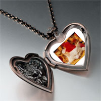 Necklace & Pendants - sleeping santa kitten heart locket pendant necklace Image.