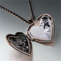 Necklace & Pendants - jewelry happy christmas gifts snowman black heart locket pendant necklace Image.