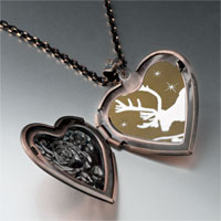 Necklace & Pendants - christmas rudolph reindeer snow heart locket pendant necklace Image.