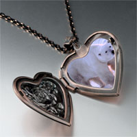 Necklace & Pendants - white polar bear heart locket pendant necklace Image.