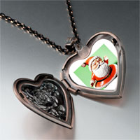 Necklace & Pendants - waving santa claus heart locket pendant necklace Image.