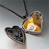 Necklace & Pendants - hanukkah holiday dreidel heart locket pendant necklace Image.