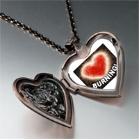Necklace & Pendants - burning love heart heart locket pendant necklace Image.