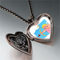 Necklace & Pendants - cupid golden bow heart locket pendant necklace Image.