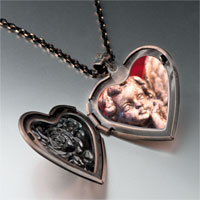 Necklace & Pendants - gazing cherub angel heart locket pendant necklace Image.
