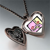 Necklace & Pendants - kiss love heart locket pendant necklace Image.