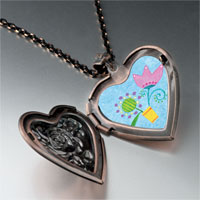 Necklace & Pendants - pink tulip flower heart locket pendant necklace Image.