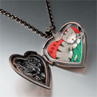Necklace & Pendants - sleeping kitty cat heart locket pendant necklace Image.