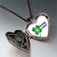 Necklace & Pendants - feeling lucky irish clover heart locket pendant necklace Image.