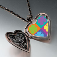 Necklace & Pendants - colorful leaf clovers heart locket pendant necklace Image.