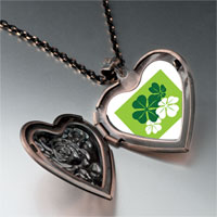 Necklace & Pendants - green leaf clovers heart locket pendant necklace Image.