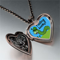 Items from KS - feeling lucky caterpiller heart locket pendant necklace Image.