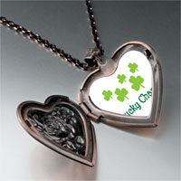 Necklace & Pendants - lucky clovers heart locket pendant necklace Image.