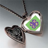 Necklace & Pendants - luck on a purple clover heart locket pendant necklace Image.
