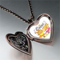 Necklace & Pendants - easter bunnies heart locket pendant necklace Image.