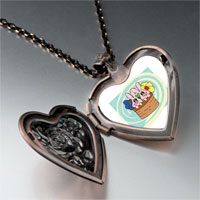 Necklace & Pendants - bunnies in a basket heart locket pendant necklace Image.