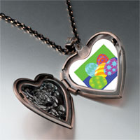 Necklace & Pendants - colorful easter eggs heart locket pendant necklace Image.