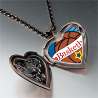 Necklace & Pendants - heart basketball heart locket pendant necklace Image.