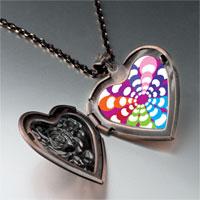 Necklace & Pendants - groovy hypnotic multicolored heart locket pendant necklace Image.