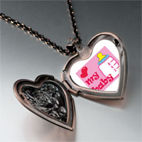 Necklace & Pendants - heart baby bottle heart locket pendant necklace Image.