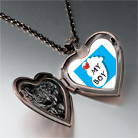 Necklace & Pendants - heart baby boy foot blue heart locket pendant necklace Image.
