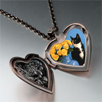 Necklace & Pendants - cat flowers heart locket pendant necklace Image.