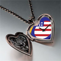 Necklace & Pendants - american flag clock heart locket pendant necklace Image.