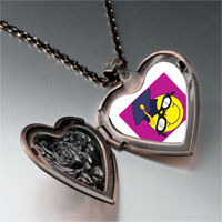 Necklace & Pendants - graduated happy face heart locket pendant necklace Image.
