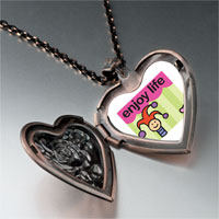 Necklace & Pendants - enjoy life joker heart locket pendant necklace Image.