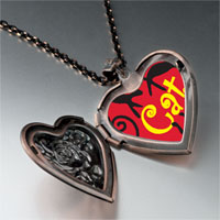 Necklace & Pendants - black gypsy cats heart locket pendant necklace Image.
