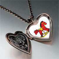 Necklace & Pendants - rocking horse toy heart locket pendant necklace Image.