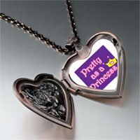 Necklace & Pendants - pretty princess crown heart locket pendant necklace Image.