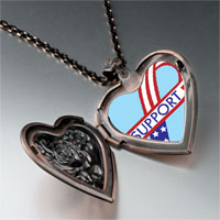 Necklace & Pendants - support american ribbon heart locket pendant necklace Image.