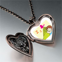 Necklace & Pendants - sleeping baby heart locket pendant necklace Image.