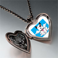 Necklace & Pendants - black white dog heaven heart locket pendant necklace Image.